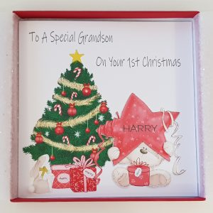 Personalised Baby's 1st First Christmas Card Teddy Star Christmas Tree Grandson / Son / Nephew / Brother / Godson / Granddaughter / Daughter / Niece / Sister / Goddaughter