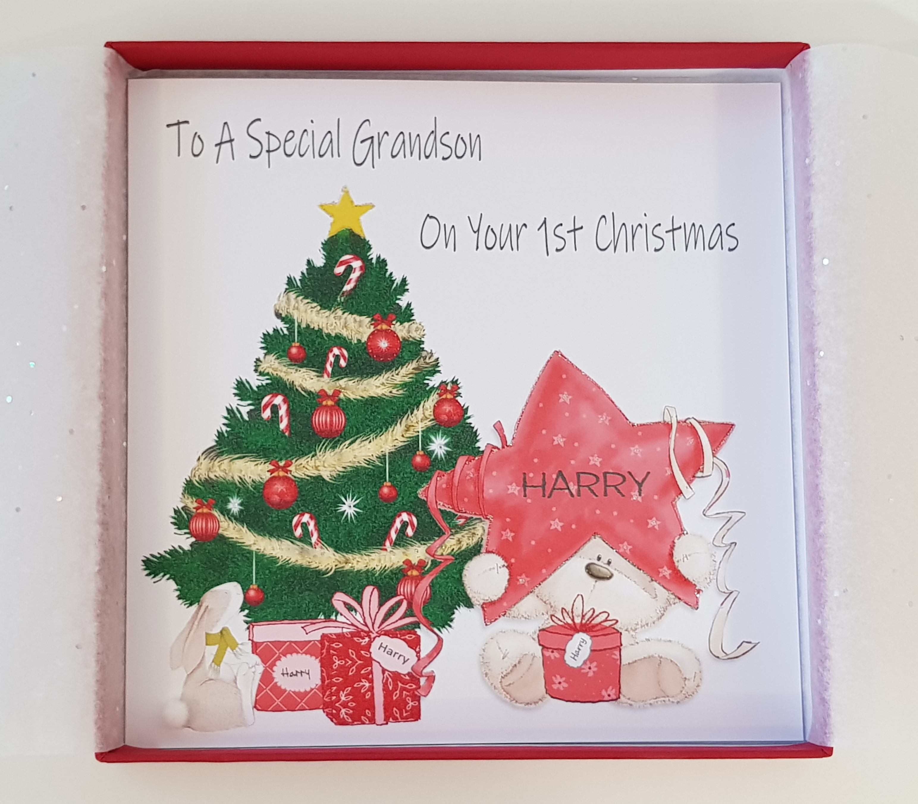 Personalised Baby\'s 1st First Christmas Card Teddy Star Christmas ...