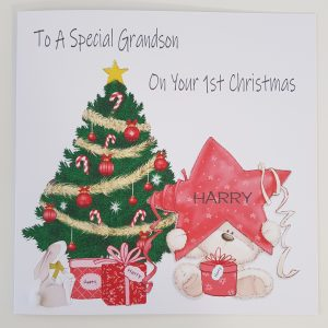 Personalised 8×8 Baby's 1st First Christmas Card Teddy Star Christmas Tree Grandson Any Relation
