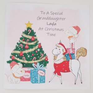 Personalised 8 x 8 Unicorn Christmas Card Granddaughter Any Relation