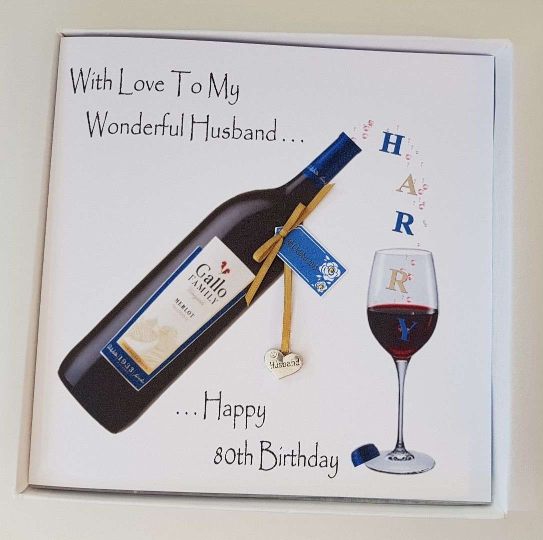 Personalised 80th Birthday Card Husband Red Wine Dad Brother In Law Nephew Godson Grandson Uncle Friend Rum Whiskey Gin Vodka 18th 21st 25th 30th 40th 50th