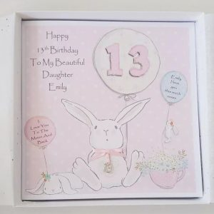 Personalised 13th Birthday Card Daughter Any Age Relation Colour