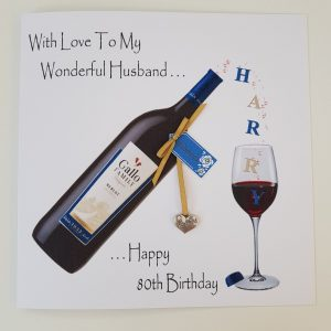 Personalised 80th Birthday Card Husband Red Wine Any Relation Any Age Any Tipple