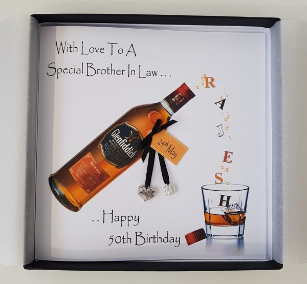 Personalised 50th Birthday Card Brother In Law Whiskey Any Age Relation