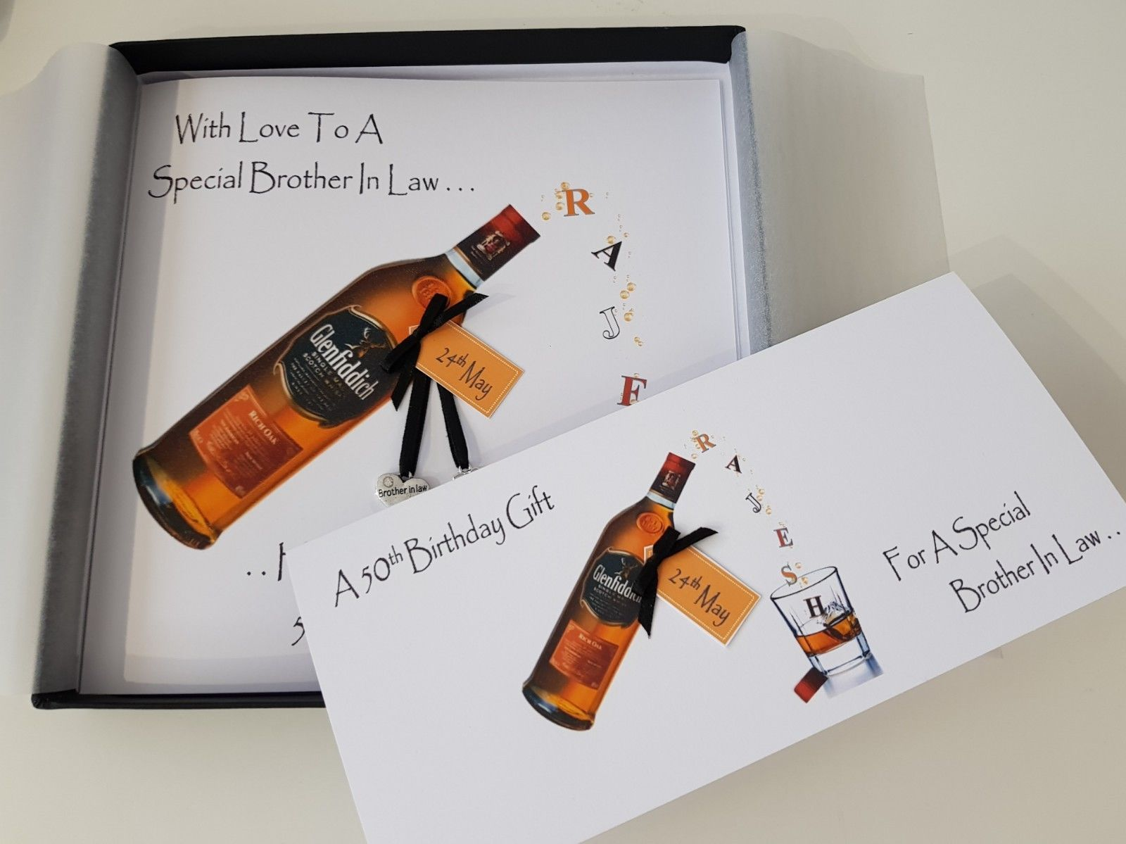 Personalised 50th Birthday Card Brother In Law Whiskey Any Person Bottle Age