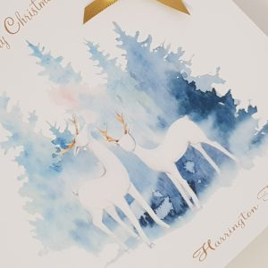 Personalised Christmas Cards Classic White Deer Design Individual or Multi Packs Any Wording Of Your Choice
