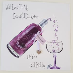 Personalised 27th Birthday Card Daughter Violet Gin Any Age Any Relation Any Colour