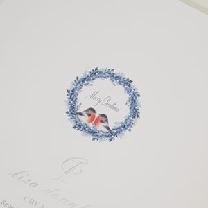 Personalised 8×8 Christmas Cards Bird & Wreath Design Special Couple Any Relation
