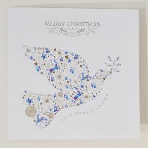 Personalised 8×8 Christmas Cards Gorgeous Dove Design Individual or Multi Packs Any Wording Of Your Choice