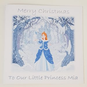 Personalised 8 x 8 Christmas Card Princess Castle Granddaughter Any Relation