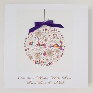 Personalised Christmas Bauble Themed Christmas Cards Individual or Multi Packs Any Wording Of Your Choice