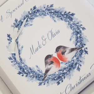 Personalised  Christmas Cards Bird & Wreath Design – Special Couple – Mum & Dad – Sister & Brother In Law