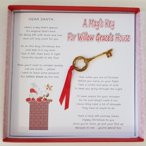 Magic Key Card – Personalised Dear Santa Childrens Christmas Card With Magic Key For Santa With Cookies and Milk Place Setting Suitable For Grandson Son Granddaughter Daughter Godson Goddaughter Niece Nephew