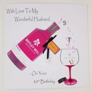 Personalised 30th Birthday Card Husband Rhubarb & Ginger Gin Any Age Any Relation
