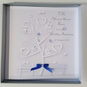 Personalised 10th Anniversary Card (Tin) Husband Wife Friends Any Year Any Colour