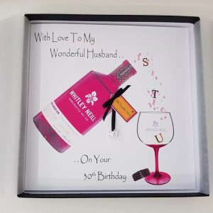 Personalised 30th Birthday Card Husband Rhubarb & Ginger Gin    Any Age   Any Relation    Gift Boxed Option & Gift Money Wallet Options
