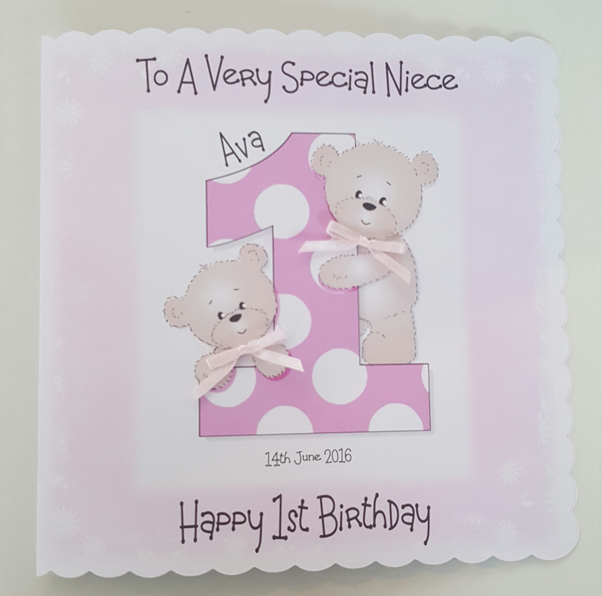 Personalised 8x8 1st Birthday Card Niece Daughter Granddaughter Any Age Relation Colour