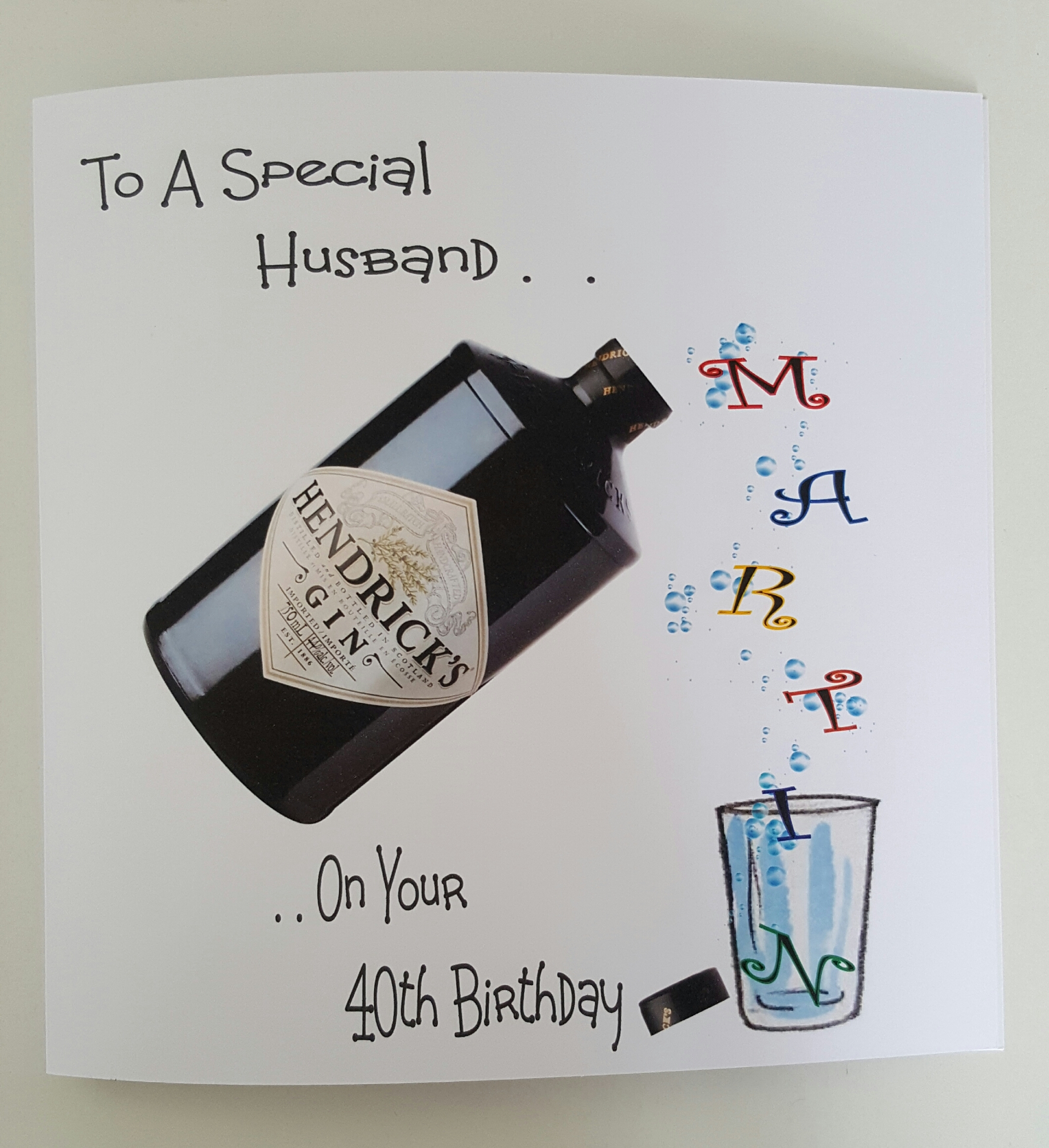 Personalised 8x8 40th Birthday Card Husband Hendricks Gin Any Age Relation Colour