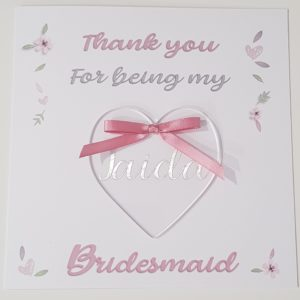 Personalised Thank You Cards With Heart Keepsake Any Person, Occasion Or Colour (SKU170)