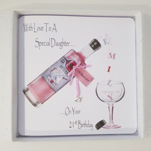 Personalised 21st Pink Gin Bottle Birthday Card Special Daughter Any Age Or Relation (SKU142)