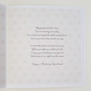Personalised 1st Birthday Card Niece  Any Age Any Relation Any Colour