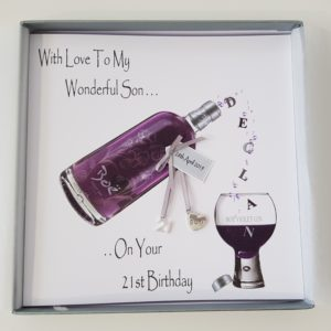 Personalised 21st Birthday Card Violet Gin Wonderful Son Any Age Any Relation Any Colour