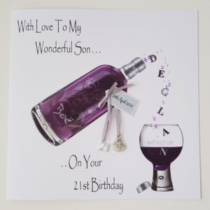 Personalised 21st Birthday Card Violet Gin Son Any Age, Relation Or Bottle (SKU159)