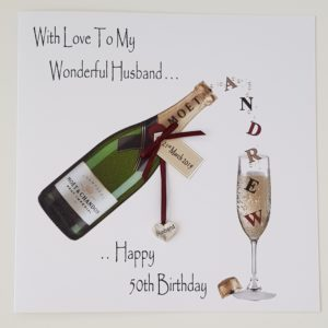 Personalised 50th Birthday Card Husband Wife Any Person, Age Or Bottle (SKU152)
