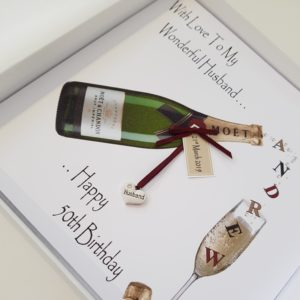 Personalised 8 x 8 Birthday Card 50th Husband Champagne Any Relation Any Age Any Colour