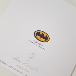 Personalised 8 x 8 Christening Card Batman Superhero Boy Girl Twin Any Relation Other Heroes