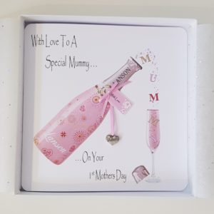 Personalised 1st Mothers Day Card Pink Champagne Any Relation Any Event Any Colour
