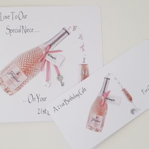 Personalised 21st Birthday Card Pink Prosecco Special Niece Any Relation Any Occasion Any Colour