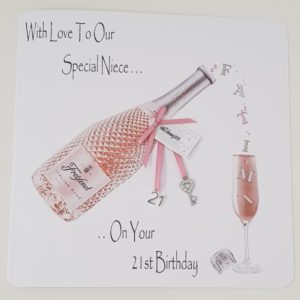 Personalised 21st Pink Prosecco Birthday Card Special Niece Any Relation, Occasion Or Age (SKU143)