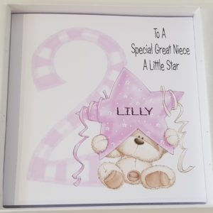 Personalised 8 x 8 2nd Birthday Card Niece Daughter  Any Relation Any Age Any Colour