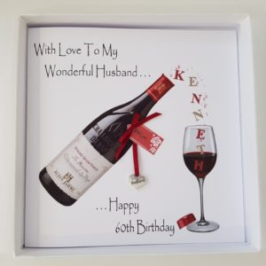 Personalised 8×8 Birthday Card 60th Husband Red Wine Any Relation Any Age Any Colour