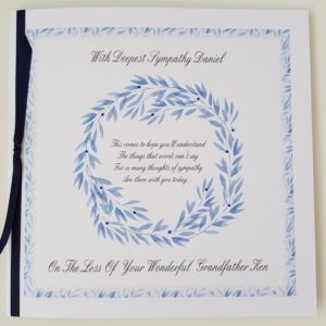 Personalised Bereavement Sympathy Card   Loss Of Grandfather   Any Relation Any Colour