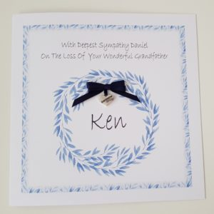 Personalised Sympathy Card On The Loss of Your Grandfather Any Relative Or Colour (SKU146)