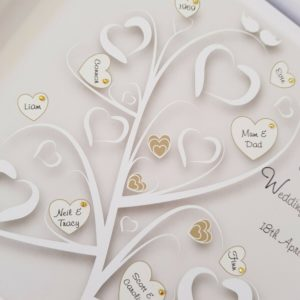Personalised 50th Golden Wedding Anniversary Card Parents Family Tree Gift Boxed Any Relation Any Year Any Colour