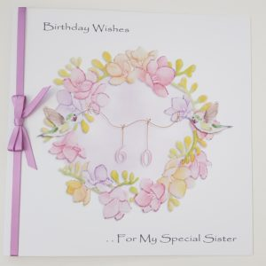 Personalised 60th Birthday Card Freesia Humming Bird Special Sister Any Relation Any Colour