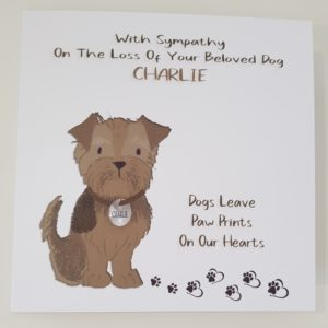 Bereavement Sympathy Card Loss Pet Dog Cat Any Animal Breed Yorkshire Terrier