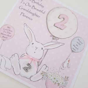 Personalised 2nd Birthday Card Granddaughter Any Age Any Relation Any Colour