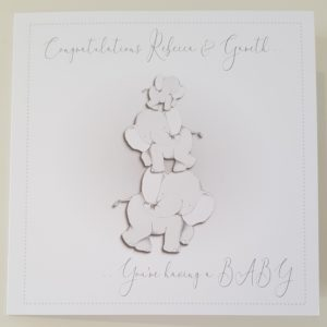 Personalised Congratualtions You're Having a Baby Card Elephant Themed Neutral Colour Twins Boy Girl Any Colour