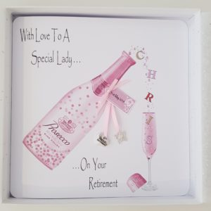 Personalised 8×8 Retirement Card Special Lady Prosecco Any Occasion Any Person