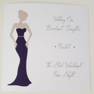 Personalised Prom Card Daughter Any Relation Any Skin Tone Any Dress Colour