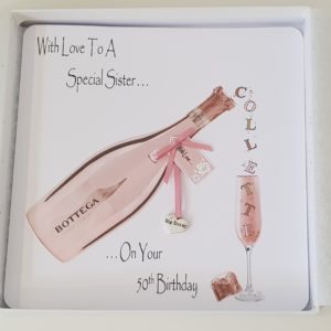 Personalised 50th Birthday Card Bottega Rose Big Sister Any Relation Any Occasion Any Colour