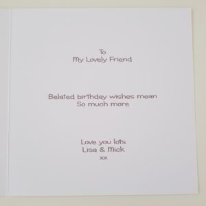 Personalised Funny Belated Birthday Card Friend Any Person Or Colour (SKU118)
