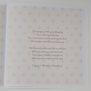 Personalised 2nd Birthday Card Granddaughter Any Age, Relation Or Colour (SKU121)