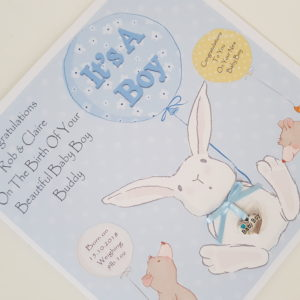 Personalised New Baby Boy Card Any Relation, Occasion Or Colour (SKU113)