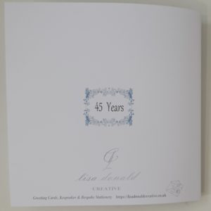 Personalised 45th Wedding Anniversary Card Mum & Dad Any Relation, Year Or Colour (SKU51)