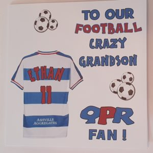 Personalised Birthday Card QPR Football Rugby Grandson Any Relation Any Team Any Colour